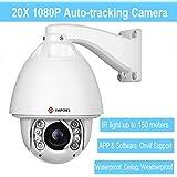 IMPORX CCTV Auto Tracking PTZ IP Kamera - Unterstützung Blue Iris, 1080P Full HD 20X optische Zoom Kamera - ONVIF High Speed Wetterfeste Kamera, 500ft (150M) IR Distanz, mit Heizlüfter und Wischer