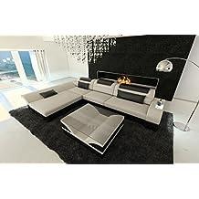 moderno sofá de tela MONZA Forma L con LED Beige - Negro