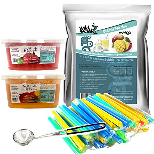 Wild Monk Bubble Tea Kit (33 servings). Featuring Mango Bubble Tea Powder, Strawberry Juice Pobbles, Mango Juice Pobbles, Bubble Tea Chunky Straws and Juice Pobbles Strainer! Great for making the perfect Bubble Tea at home!