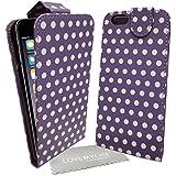 """Stylebitz / Élégant étui, motif Polka en cuir PU pour Apple iPhone 6 (4.7"""") avec chiffon de nettoyage Stylebitz (violet)"""