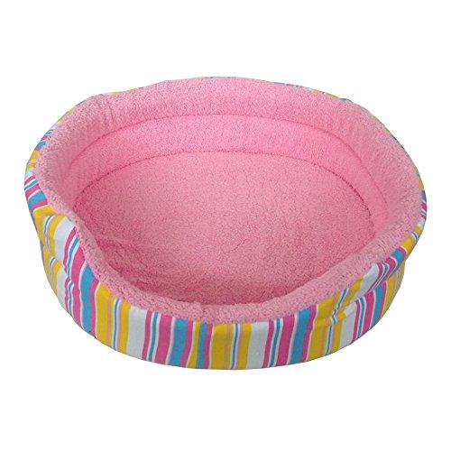 Grande suave mascota cama rosa rayas impresión perro