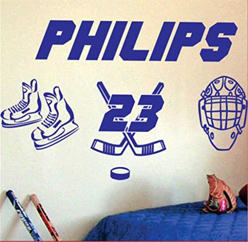 Wandtattoo Kinderzimmer Wandtattoo Wohnzimmer Personalisieren Sie Ihre Name-Nummer Eishockey Boys Room Decals Kinderzimmer