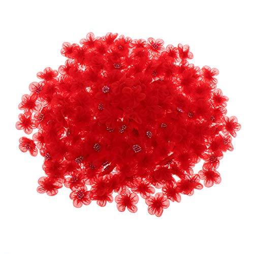 SM SunniMix 250 Stück Organzablumen Applikation zum Aufnähen Rosenköpfe Organza Tüll Blume mit Perlen zum DIY Handwerk Dekoration - rot