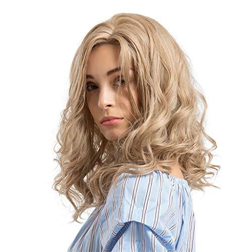 Perruques Cheveux Femmes blonds et ondulés Longues Bouclées Coiffure Synthétique Belle et Généreuse Madame Blonde wig qualité 46cm (18.11pouces)