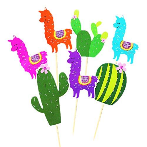 Amosfun Kaktus Alpaka DIY Cupcake Topper Kuchen Dekorationen für Hawaii Strand Urlaub Party Geburtstag Baby Shower Party Favor 21 STÜCKE