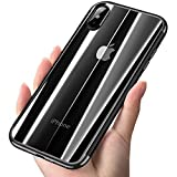 Borkano Coque iPhone X, Coque iPhone 10 Transparente Souple Ultra Fine TPU Silicone - Adhérence Parfaite - Anti-Trace - Absorption Chocs - Coque Apple iPhone X (Bord Noir, 5.8 Pouces)