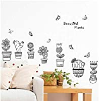 Flowerpot with Butterfly Wall Stickers Living Room Bedroom Home Decoration Cactus l Mural PVC Art DIY Plant Decal 75 * 45CM