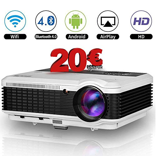 EUG 3600 Lumen LED WiFi Beamer Wlan HD Videoprojektor Android Unterstützt 1080P HDMI VGA AV USB Multimedia Heimkino Projektor mit DVBT HDMI Kabel für Digital TV Laptop Videospiele Telefon PC iPad DVD player (Wireless-tastatur Klare Eine)