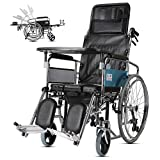 Rollstuhl-voller Lay-hohes Rückseitiges Licht-Transport-faltender Tragbarer Reise-Stuhl, Der Die Älteren Behinderten Mit Toiletten-Laufkatze Trägt