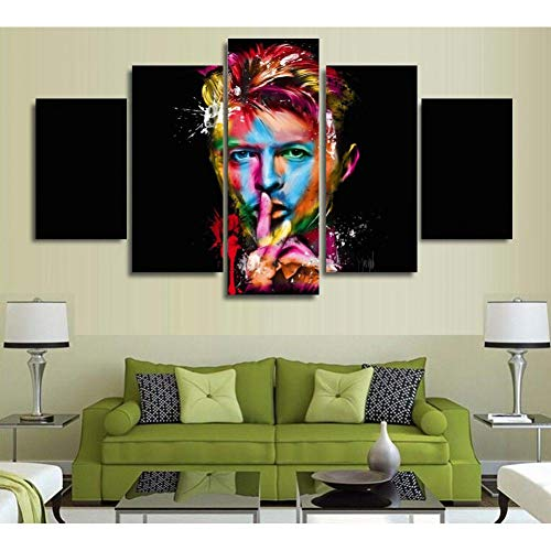 JSDJZSH Canvas Frame Painting Wall Art Pictures Home Decor 5 Panel Modern HD Printed David Bowie Singer Songwriter Amazing Poster PENGDA Star David Punch
