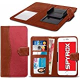 Spyrox - HTC One S9 (5 inch) Hochwertige Stoff Material Klemme Wallet Case in Brown and Red