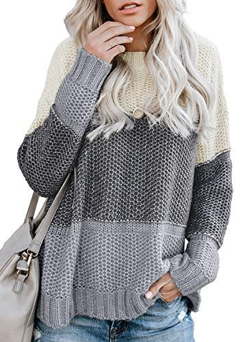 FIYOTE Damen Strickpullover Farbblock Pullover Casual Winter Sweater Sweatshirt Winter Bluse Streifenpullover 4 Farbe S/M/L/XL/XXL, 1-grau, Medium(EU38-EU40)