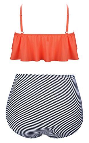 Angerella Vintage Niedlich Ruffles Strap Badeanzug Crop Top Flounce Hohe Taille Bikini Set -