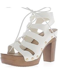 Sandales blanches à talons de 11,5 cm et plateforme à lacets