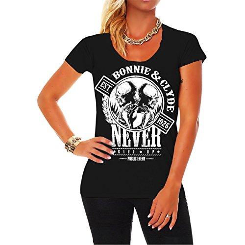 *Frauen und Damen T-Shirt Bonnie & Clyde GANGSTER (mit Rückendruck)*