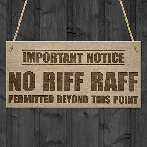 Kue Herp Important Notice No Riff Raff Permitted Beyond This Point Funny Pub Club Home Bar Man Cave Antikes Holz Schild Wandbehang Retro Style schöne Wohnkultur 5 x 10 Zoll Riff-cocktail