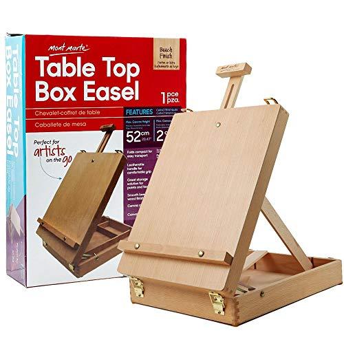 Mont Marte Chevalets de table pour peinture, boîte de bureau, chevalets pour enfants, adultes et artistes, bois de hêtre