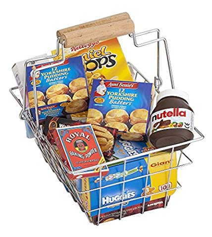 Polly Toy metal grocery basket for childrens play supermarket