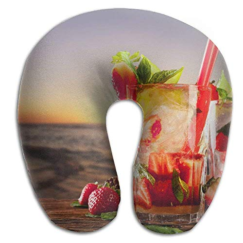 Sunset Cocktail (Osmykqe Neck Pillow Sunset Cocktails Strawberry Travel U-Shaped Pillow Soft Memory Neck Support for Train Airplane Sleeping)