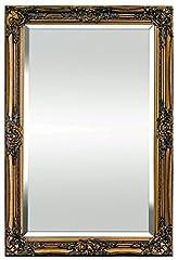 Idea Regalo - Specchio in stile Shabby Chic - Legno Massello - Fatto a Mano - Barocco - Grandi - 90x60 cm - Oro Antico - Rococo
