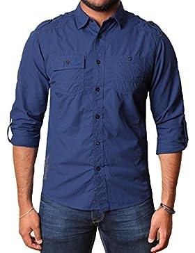 Camisa occasional de rollos largos de hasta mangas para hombre de la marca Dissident con 100% algodón, CLELLAN