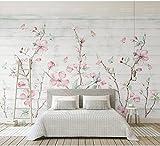 BIZHIGE Wandbild-Schmetterlings-3D Blumen-Wandbild-Tapete Für Wohnzimmer-Fernsehhintergrund Blumen-Wandbild 3D Wandpapier 3D Foto-Wandbilder-400 × 280Cm