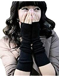 Demarkt Damen Pulswärmer Strick fingerlose Armstulpen Arm Stulpen Pulswärmer Schwarz Handstulpen