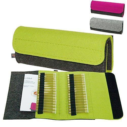 ebos Premium Taschenapotheke | handgefertigte Reiseapotheke aus echtem Wollfilz | 32 Schlaufen für Globuli-Röhrchen | Globuli-Tasche, Globuli-Etui zur Aufbewahrung homöopathischer Mittel | grün