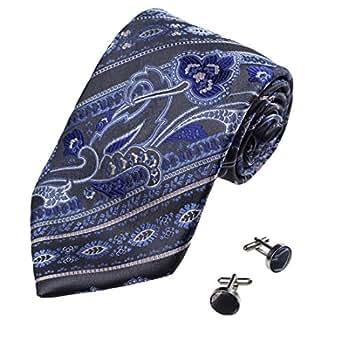 A1005 Purple Dark Grey Patterned Shopstyle Goods Mens Silk Tie Cufflinks Set 2PT By Y&G