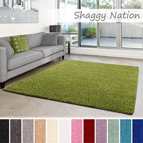 Shaggy-Teppich | Flauschiger Hochflor für Wohnzimmer, Schlafzimmer, Kinderzimmer oder Flur Läufer | einfarbig, schadstoffgeprüft, allergikergeeignet | Grün - 160 x 230 cm - Grüner Läufer Teppich
