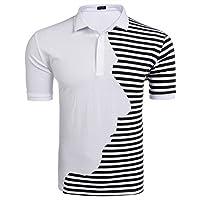 COOFANDY Men's Classic Fit Short Sleeve Striped Golf Polo Shirts Fashion T-Shirt