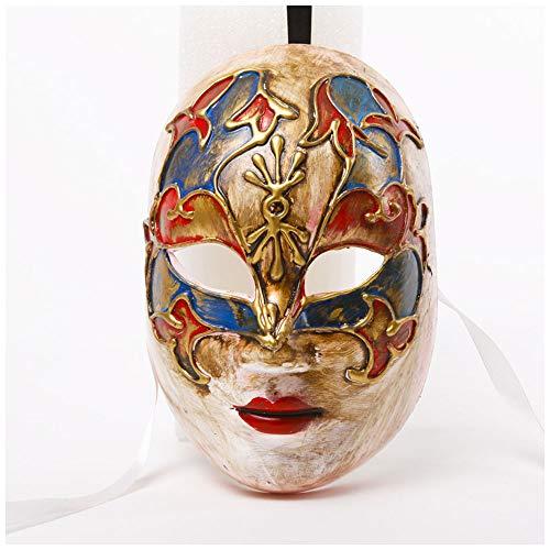 YaPin Halloween Venedig bemalte Maske Retro Maske volles Gesicht personalisierte Muster handgefertigte Maske (Bemalte Halloween Gesichter)