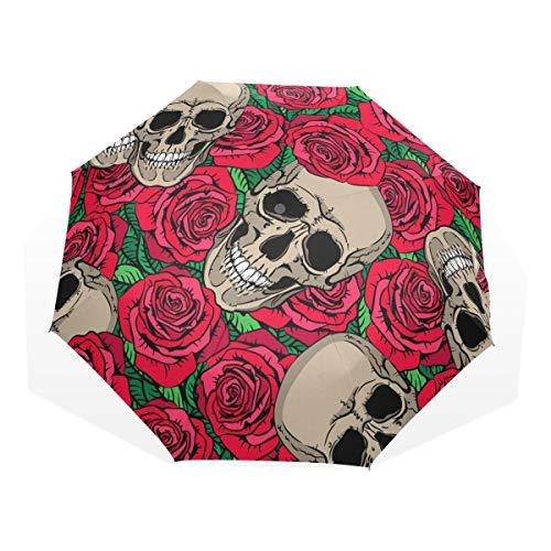 GUKENQ Paraguas de Viaje diseño de Calaveras y Rosas Rojas, Ligero, Anti Rayos UV, Paraguas de Lluvia para Hombres, Mujeres y niños, Resistente al Viento, Paraguas Compacto
