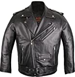 Lederjacke Rockerjacke Rocker Punk Motorradjacke Western Highway Rockabilly (4XL)