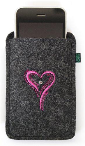 Filztasche iPhone 3, 4, 4S, anthrazit, Herz pink, hochwertig gestickt mit SWAROVSKI-Stein (Stein Gestickt)