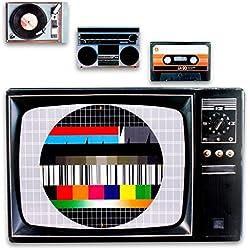 Manteles de plástico taza y platillo en 80 Retro Style en conjunto de 4 como caja de, imagen de prueba, tocadiscos y mesa Getthoblaster