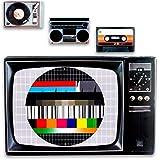 Juego de 4 manteles individuales de plástico, diseño retro de los 80 con casette, tocadiscos, carta de ajuste, reproductor de casette