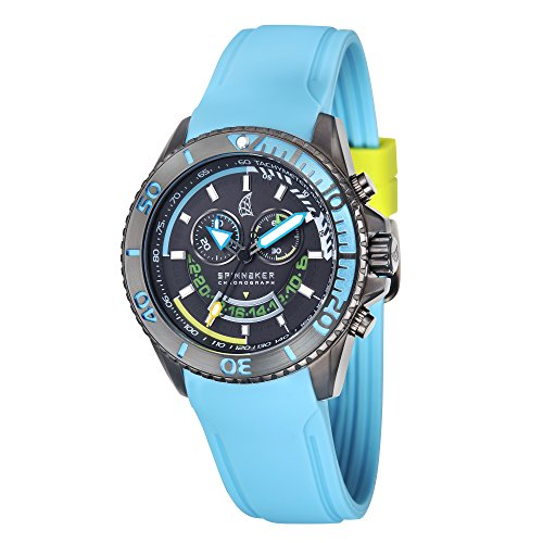 Spinnaker Amalfi Diver Men's Quartz Watch with Gun Dial Chronograph Display on Blue Silicon Band SP-5021-05
