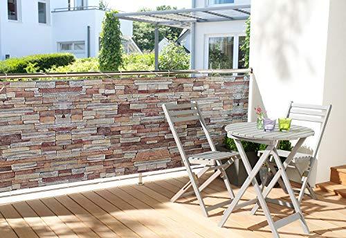 WOHNWOHL® Balkonumspannung Balkonbespannung Sichtschutz Windschutz I witterungsbeständig I 90x500 cm, Design:Steinmauer