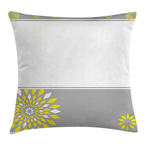 Grey and Yellow Throw Pillow Cushion Cover, Modern Futuristic Border with Geometric Flower Frame, Decorative Square Accent Pillow Case,Light Grey White and Marigold 20X20 inches (Frame Border)