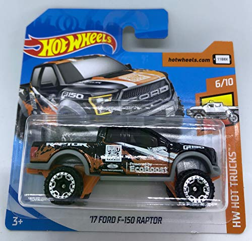 Hot Wheels 2018 '17 Ford F-150 Raptor Black 6/10 HW Hot Trucks 348/365 (Short Card) (Ford F150 Raptor)