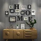 Everyday Home 10 Multi Bilderrahmen Set Schwarz Weiß Blau Holz DIY Foto Bild Wandrahmen Kombination Treppen Malerei, 126 * 75 cm (Farbe : #2)