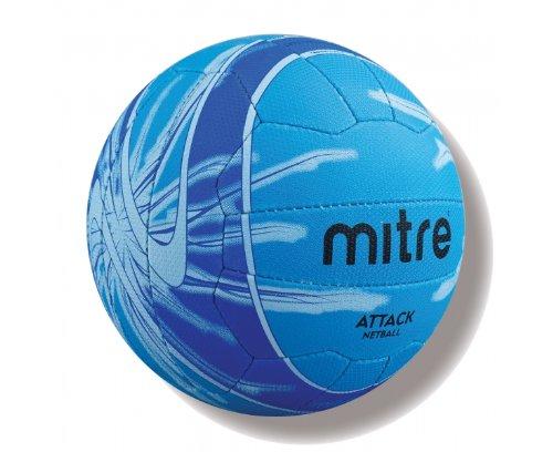 Mitre Attack 18P Enfant Ballon de Netball pour entraînement–Bleu, Taille 4