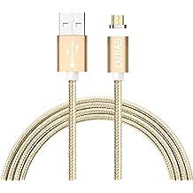 Cable USB Magnético,EVIISO Cable con imán magnético para cargador Micro USB Carga Rápida y Sincronización Datos con LED Indicator Para Samsung Galaxy S7 Edge / S7 / S6 Edge / S4 / S3 / Note 5 / 4,HTC,LG, Android [1m 2.4A](Oro)