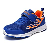 Aizeroth-UK Kids Sports Shoes Air Out Trainers Fitness Flats Velcro Mesh Dual Network Breathable Lightweight Athletic Walking Gymnastics Running Sneakers for Boys Girls (5 UK, Blue Orange)