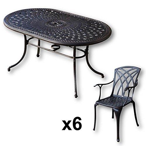 Lazy Susan June 150 X 95 Cm Ovaler Gartentisch Mit 6 Stuhlen