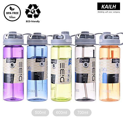 KAILH Tritan Sportiva Bottiglia d'Acqua 500/600/700/900ml Borraccia a Prova di perdite, BPA Gratis, Bottiglia da Palestra Riutilizzabile Ideale da Corsa, Ciclismo, Scuola, Viaggi e Altro