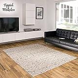 Teppich Wölkchen Hand-Web-Teppich Hooge | Handgewebte Schurwolle im modernen Design | Fürs Wohnzimmer, Esszimmer, Schlafzimmer oder Kinderzimmer | weich, mehrfarbig (Kiesel - 90 x 160 cm)