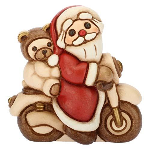 THUN - Babbo Natale in Moto Piccolo - Soprammobile da Collezione con Orso Teddy - Ceramica - I Classici