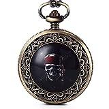 Gorben Reloj de bolsillo, diseño steampunk de calavera tallada, con cadena, mecanismo de cuarzo...